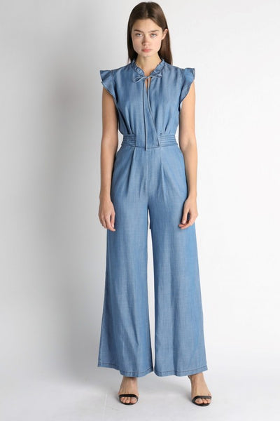 Ruffle Bow Tie Jumpsuit