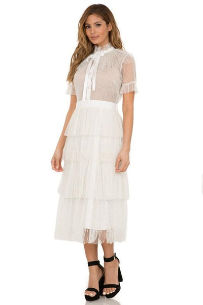 Sheer Top Tiered Midi Dress White