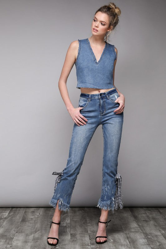 Shredded Hem Denim Top