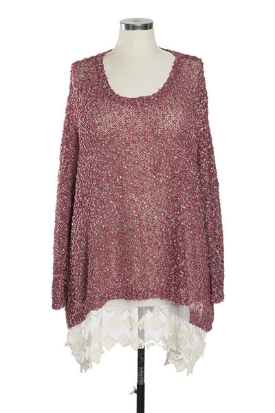 Sweater Tunic Top With Layered Lace Trim