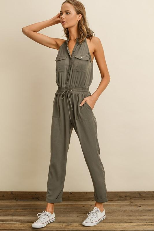 Sleeveless Drawstring Jumpsuit