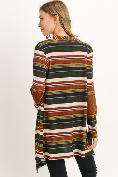 Stripe Draped Cardigan