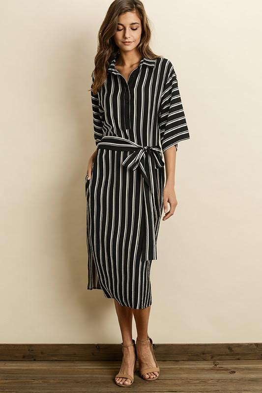 Stripe Shirt Midi Dress