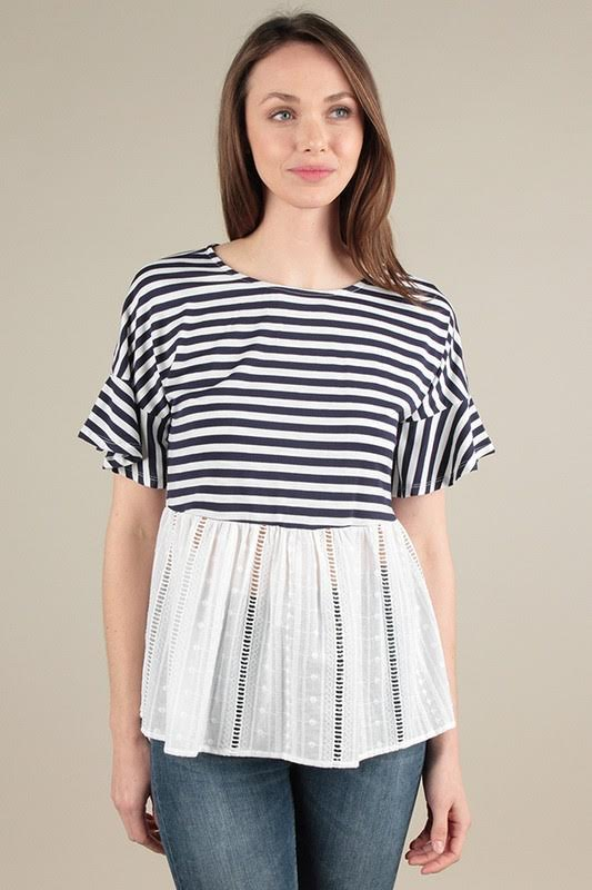 Striped Eyelet Plume Top
