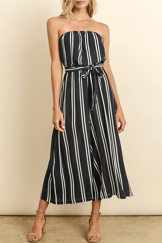 Striped Strapless Culottes Jumpsuit