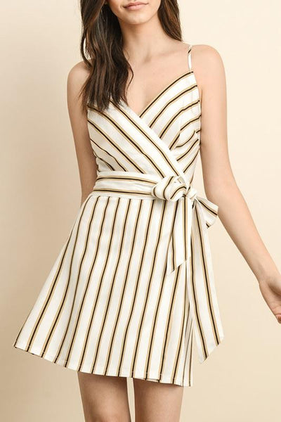 Striped Wrap Mini Dress