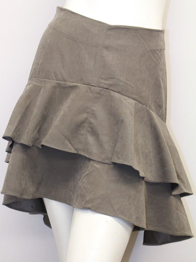 Suede Like Frill Skirt