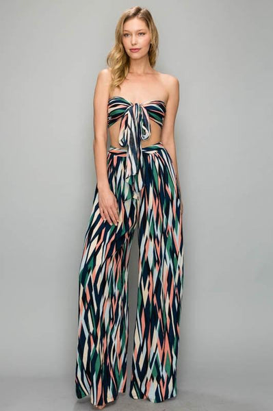 Tube Tie Top & Flare Pants Set