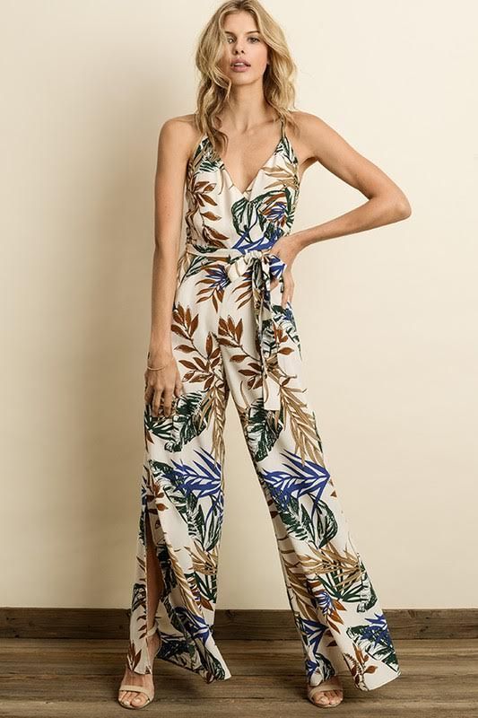 Tropical Leaf Wrap Jumpsuit