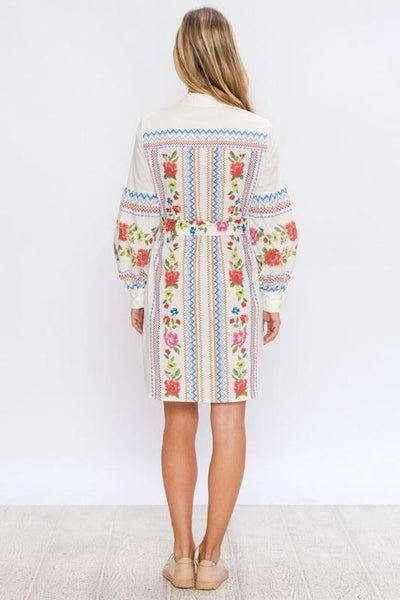 Floral Shift Dress With Puff Sleeves