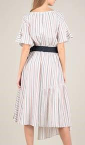 Wide Shoulder Dress With Belt