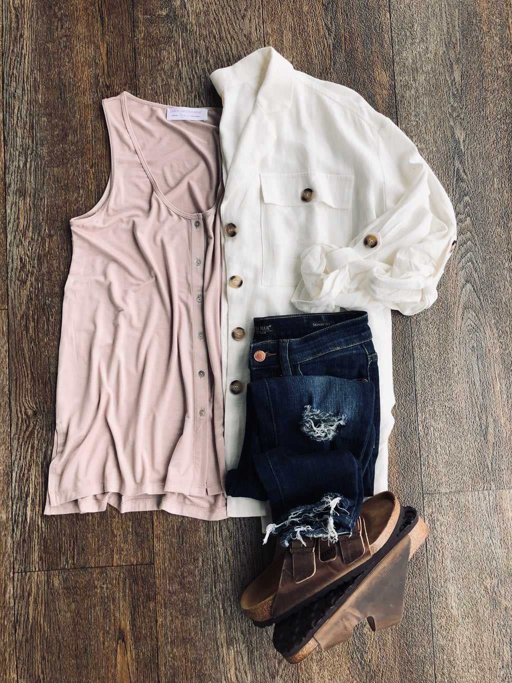 Beige Button Tank