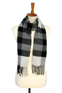 Windowpane/Banded Cashmere Feel Winter Scarf
