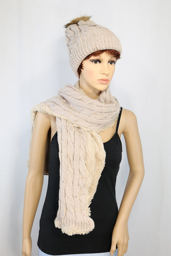 Cable Knit Hat and Scarf Set with Subtle Pattern