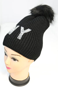 NY Bling Knit Winter Beanie Hat with Single Pom