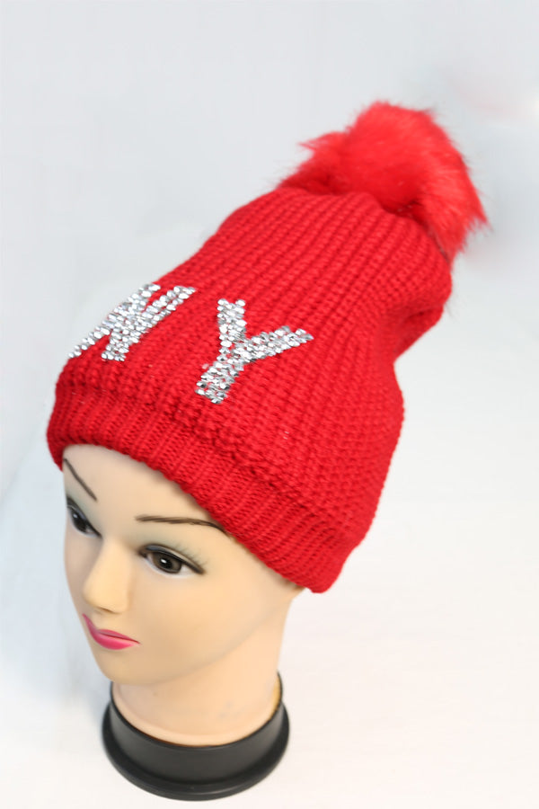 bec7a2ded21 NY Bling Knit Winter Beanie Hat with Single Pom – Bazzaara
