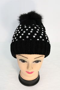 Ribbed Knit Winter Pom Hat with Rhinestones