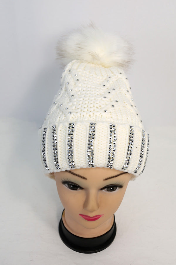 Patterned Knit Winter Pom Hat with Rhinestone Accents