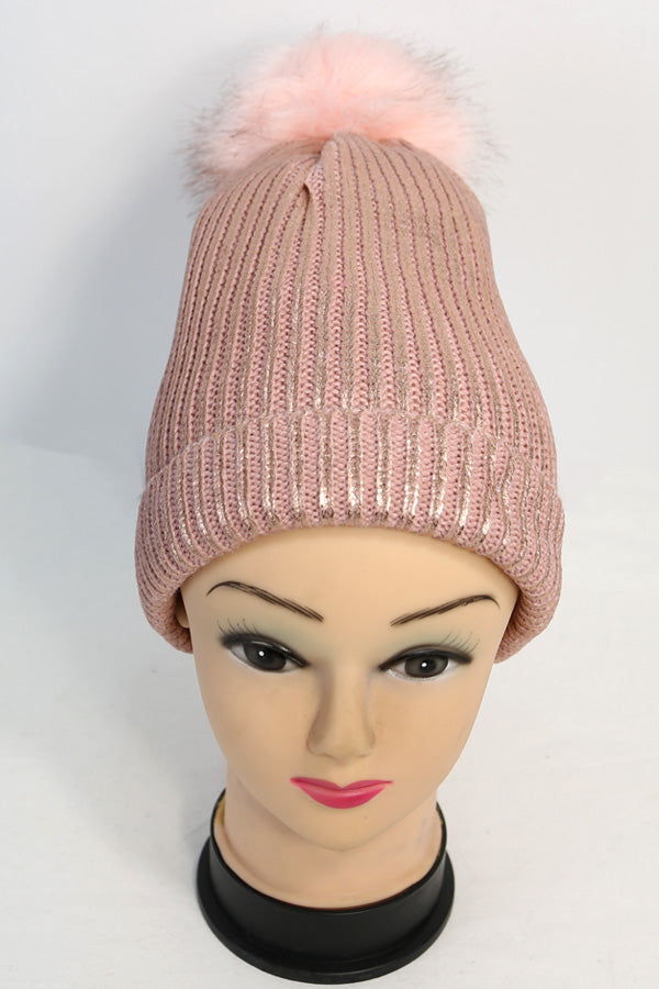 Ribbed Knit Winter Pom Hat with Shimmer
