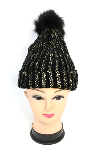 Ribbed Knit Winter Pom Hat with Shimmery Metallic Flakes