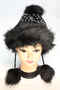 Faux Fur Winter Hat with Rhinestones and Dangling Faux Fur Tufts