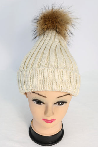 Ribbed Knit Winter Hat with Real Fur Pom