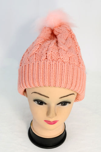 Cable Knit Winter Pom Hat