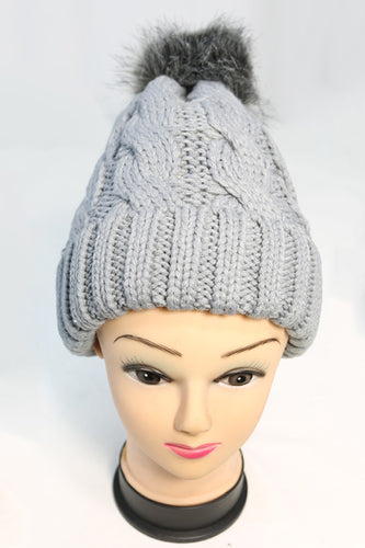 Pointed Cable Knit Winter Hat with Single Pom