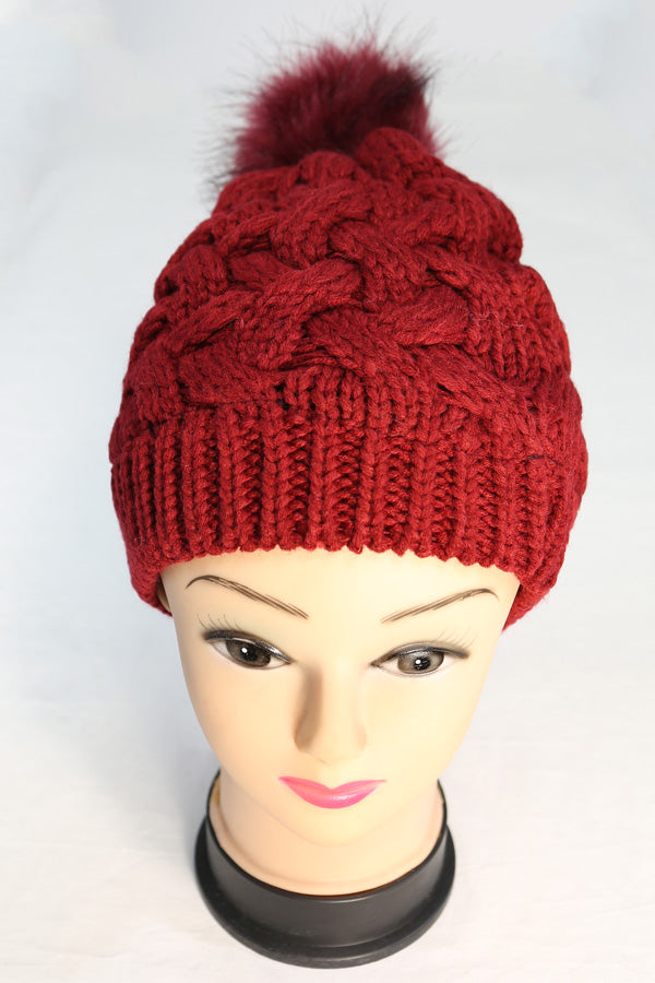 1c0ebc891c4 Cable Knit Winter Beanie Hat with Single Pom – Bazzaara