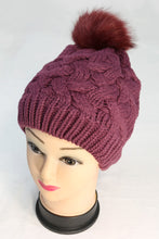 Cable Knit Winter Beanie Hat with Single Pom