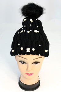 Ribbed Knit Winter Pom-Pom Hat with Pearl and Floral Pieces