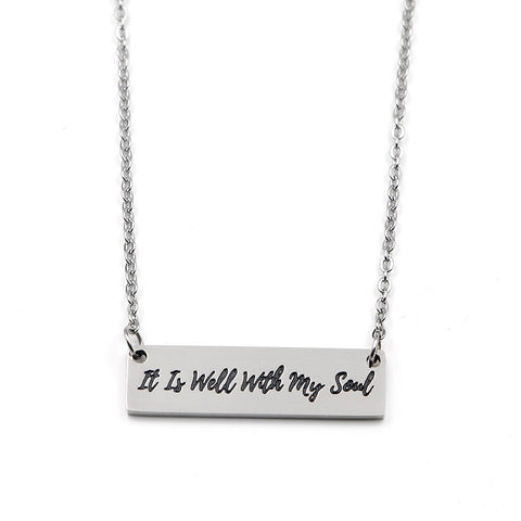 It Is Well Bar Necklace