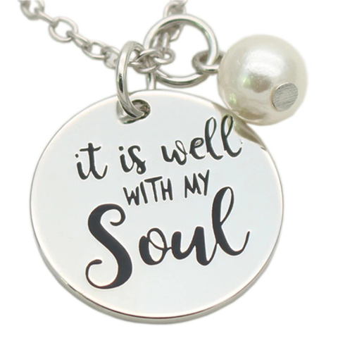 It Is Well Necklace (Pearl)