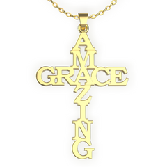 (Gold) Amazing Grace Cross Necklace