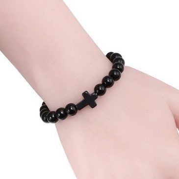 Natural Stone Cross Bracelet - Black
