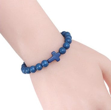 Natural Stone Cross Bracelet - Blue