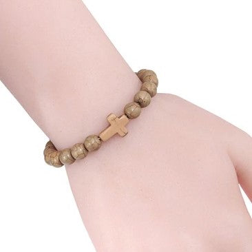 Natural Stone Cross Bracelet - Brown