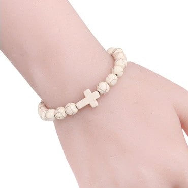 Natural Stone Cross Bracelet - Cream