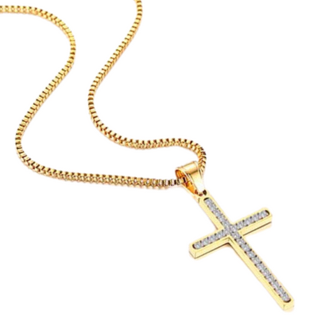 (Gold) The Diamond Cross Necklace