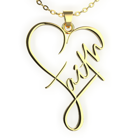 (Gold) Faith Heart Necklace