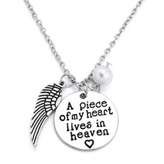 Pendant Necklaces - A Piece Of My Heart Lives In Heaven Necklace - 25% Off!