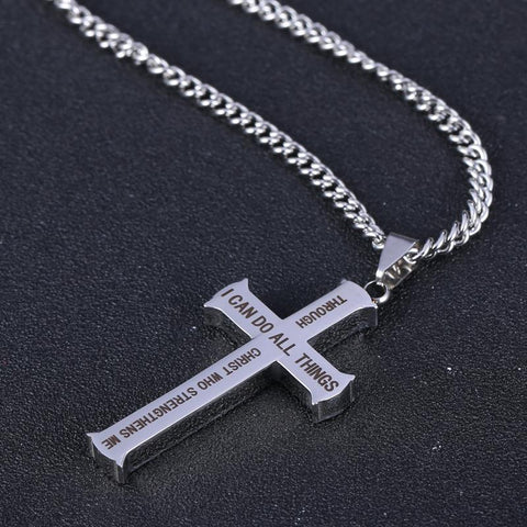 Philippians 4:13 Stainless Steel Cross Pendant Necklace