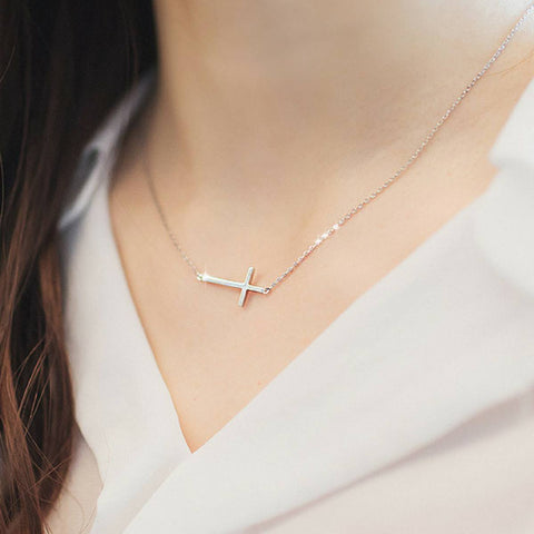 Sideways Silver Cross Necklace - FREE Shipping