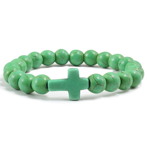 Natural Stone Cross Bracelet - Green