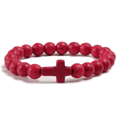Natural Stone Cross Bracelet - Red