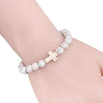 Natural Stone Cross Bracelet - White Marble