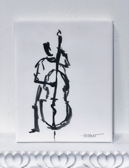 Bass Player Jazz - Giclée Print - Musician 8002