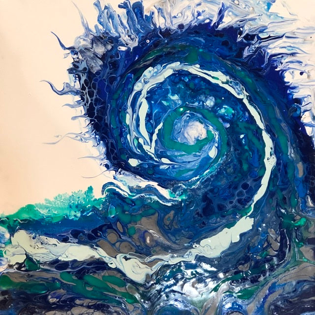 Abstract WAVE Acrylic Pour Painting Class