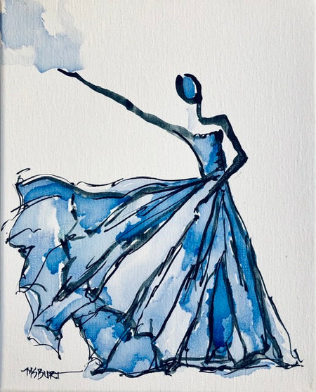 Elegant Blue - Dancer Painting 1014