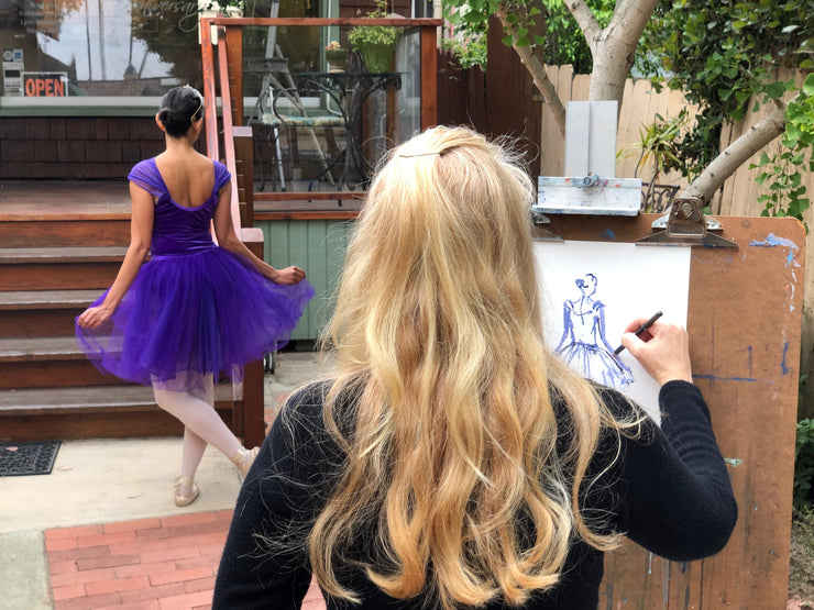 Ballerina Drawing and Painting Exploration with Live Model Class